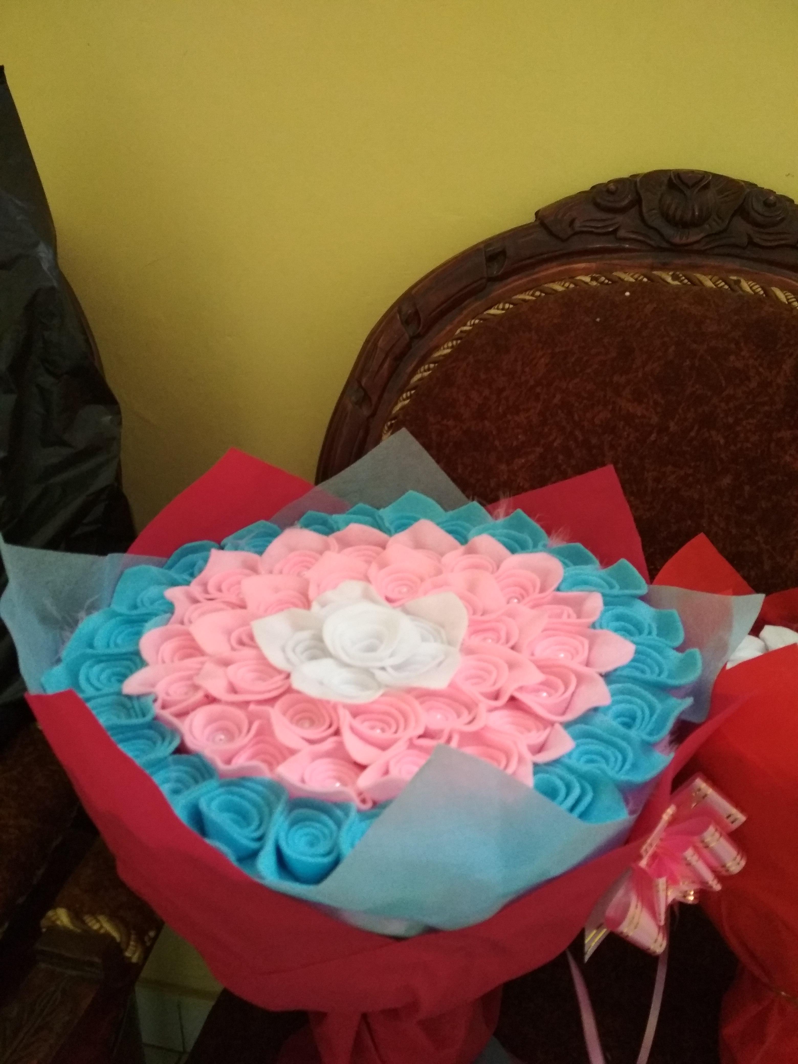 Alamat Ecer Buket Bunga Flanel Biru Muda Wisuda Bagus di Barabai